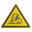 Противоскользящий напольный знак, надпись «Осторожно погрузчик», треугольник со сторонами 600 мм