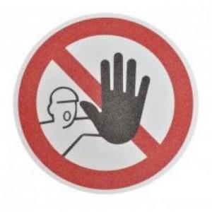 Противоскользящий напольный знак, надпись «Посторонним запрещено», круг с диаметром 400 мм