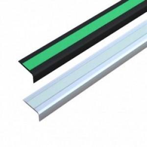Алюминиевый профиль для краев ступеней с противоскользящей лентой, 1000x50x25 мм