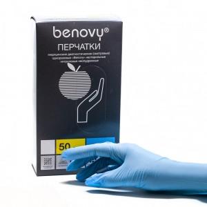 Перчатки нитриловые смотровые нестерильные Benovy