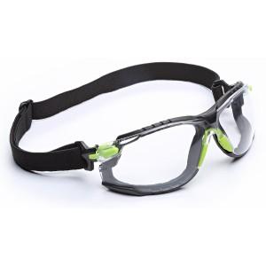 3M™ Solus™ S1201SGAFKT-EU Очки Открытые защитные с усиленным покрытием Scotchgard™, цвет линз прозрачный, комплект с дужками, ремнем оголовья и обтюратором