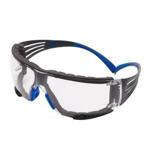 3M™ SecureFit™ SF400 SF401SGAFKT-BLU-EU Очки Открытые защитные из поликарбоната, с покрытием Scotchgard™, цвет линз прозрачный,с обтюратором